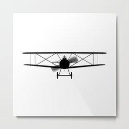 Biplane Silhouette Metal Print