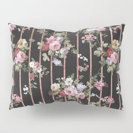 Elegant faux rose gold black stripes vintage blush pink lavender floral Pillow Sham