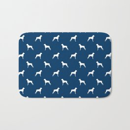 Boxer dog breed pattern dog gifts navy and white minimal dog silhouette Bath Mat