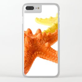 Two starfish, orange and yellow, isolated on white background Clear iPhone Case
