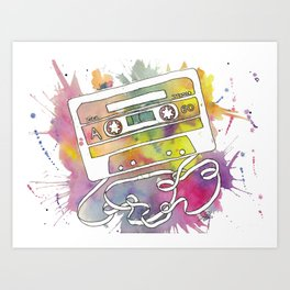 Rainbow Cassette Tape Art Print