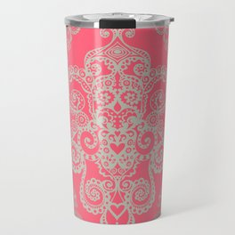 red&grey Baroque Pattern on gentle raspberry Travel Mug