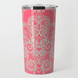 red&grey Baroque Pattern on gentle raspberry Travel Mug