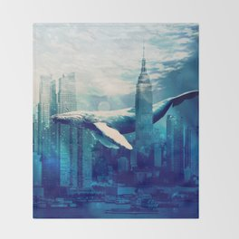 Blue Whale in NYC Throw Blanket