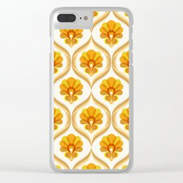 Ivory, Orange, Yellow and Brown Floral Retro Vintage Pattern Clear iPhone Case