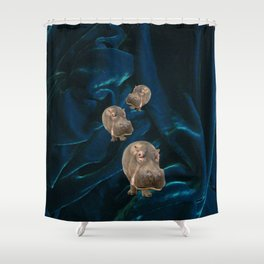 Hippo Parade on Velvet Shower Curtain