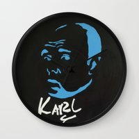 karl Wall Clocks featuring Karl Pilkington  by All Surfaces Design