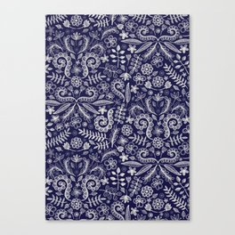 Chalkboard Floral Doodle Pattern in Navy & Cream Canvas Print