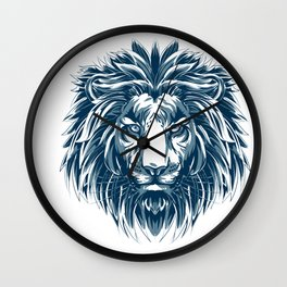 Lovely African Lion Warrior Hand Drawn Portrait product Gift Wall Clock