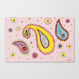 Pink Paisley  - Motifs Cachemire Rose Canvas Print