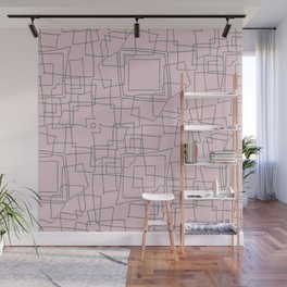 Decorative pink and grey abstract squares Wall Mural