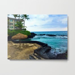 Hawaiian Beach Scene Lava Rocks on the Big Island Metal Print