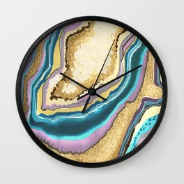 Glittering Gold Geode Gemstone Wall Clock