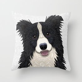 Happy Border Collie Throw Pillow