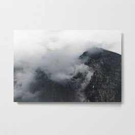 White clouds over the dark rocky mountains Metal Print