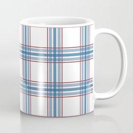 Farmhouse Plaid in blue, red on white Coffee Mug