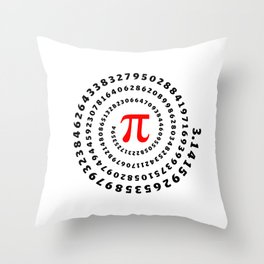 Pi, π, spiral science mathematics math irrational number Throw Pillow