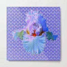 BLUISH-WHITE PASTEL IRIS FLOWERS OPTICAL ART PATTERNS Metal Print