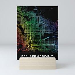 San Bernardino, CA, USA, City, Map, Rainbow, Map, Art, Print Mini Art Print