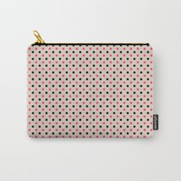 Red black polka dot on beige background Carry-All Pouch