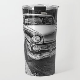 Havana, Cuba '57 Taxi Street Scene Black and White Photographic Art Print Travel Mug