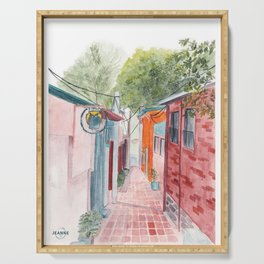 Korean Street Watercolor Illustration Serving Tray