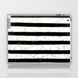 Vintage Black and White Stripes Gold Geometric Pattern Laptop & iPad Skin