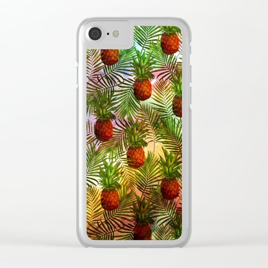 Pineapples - Tropical fruit watercolor illustration pattern Clear iPhone Case