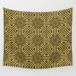 Golden Rattan Wicker Squares Wall Tapestry