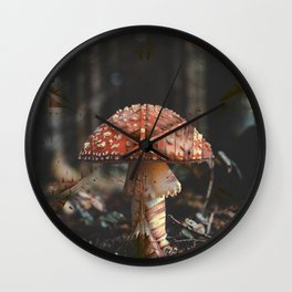 Ultra Trippy Mushroom Retro Vintage Print Wall Clock