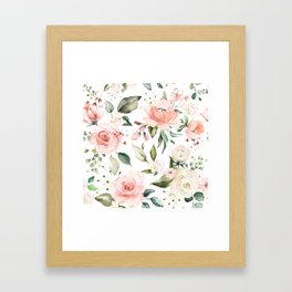 Sunny Floral Pastel Pink Watercolor Flower Pattern Framed Art Print