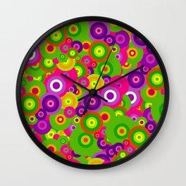 rainbow bright colorful trippy purple magenta fuschia pink neon lime green retro circles Wall Clock