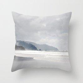 Silver Coast - Oregon Cannon Beach, Ocean Landscape Photography Throw Pillow