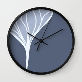Silvery Blue Ginkgo Leaf Wall Clock