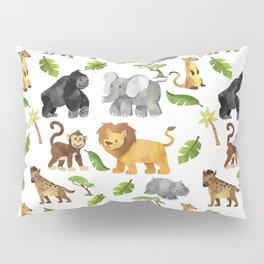 Safari Animals Pattern Watercolor Pillow Sham