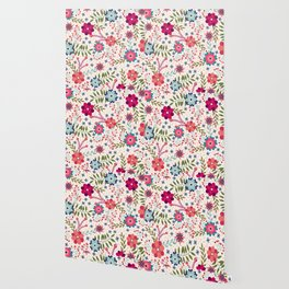 Colorful Floral Spring Pattern Wallpaper