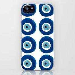 Watercolor Evil Eye Pattern (Nazar) iPhone Case