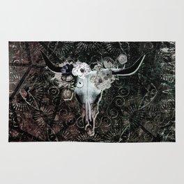 Gothic Floral Longhorn Skull Rug