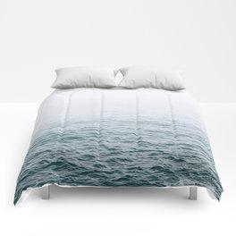 Foggy ocean blues Comforters