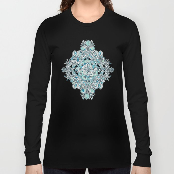 Floral Diamond Doodle in Teal and Turquoise Long Sleeve T-shirt