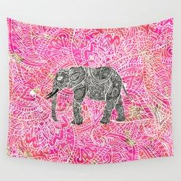 Pink Safari | Tribal Paisley Elephant Henna Pattern Wall Tapestry