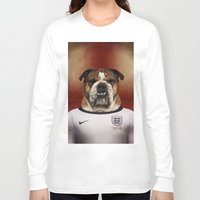 english bulldog Long Sleeve T-shirts featuring Worldcup 2014 : England - English Bulldog by Life on White Creative