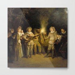 """Antoine Watteau """"The Italian Comedy"""" Metal Print"""
