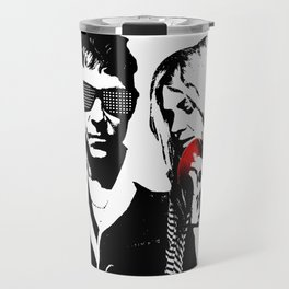 the Kills - Black and White with red Apple Travel Mug