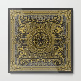 Medallion Lion Black Gold Metal Print