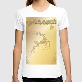 Christmas, beautiful golden reindeer with snowflakes T-shirt