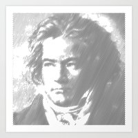 beethoven Art Prints featuring Beethoven Portrait  by Cool Prints
