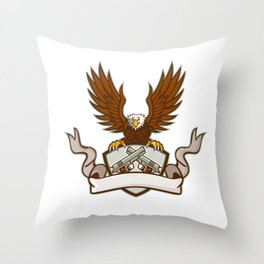 Bald Eagle Crossed 45 Caliber Pistols Shield Retro Throw Pillow