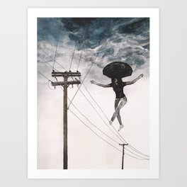Girl On A Wire Art Print