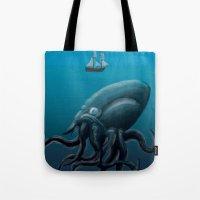 kraken Tote Bags featuring Kraken by JayhIllustration